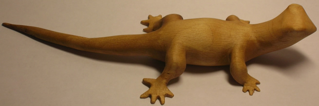 gecko wood carving