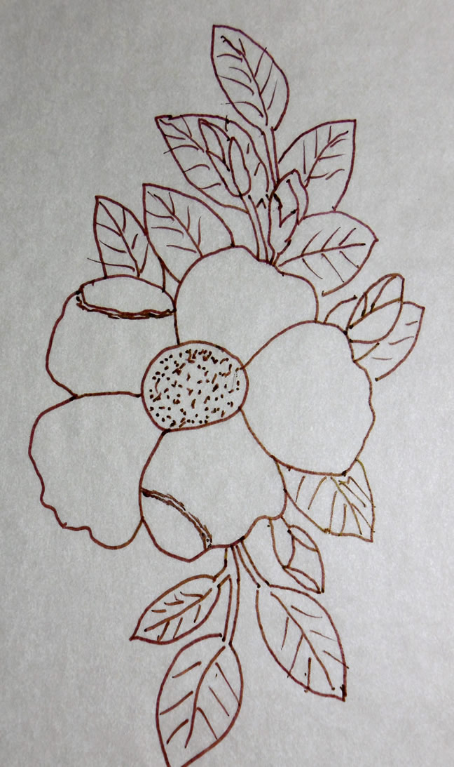 Cherokee rose relief wood carving pattern