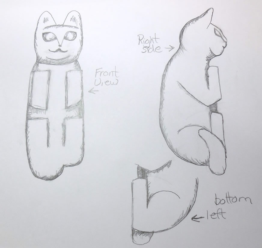 cat woodcarving pattern