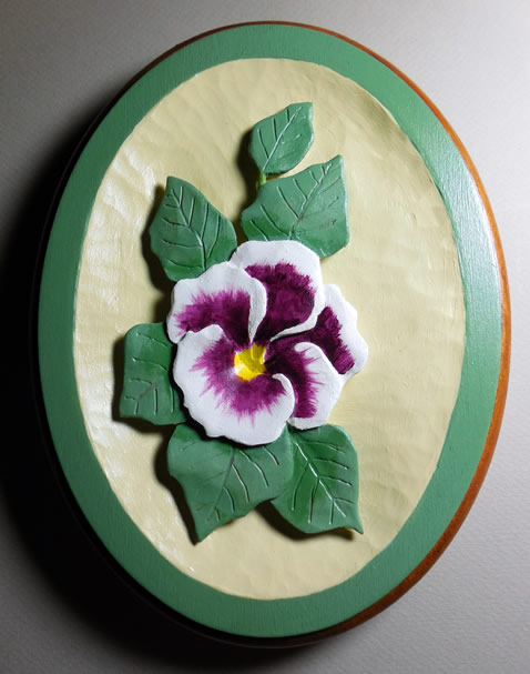 Purple Pansy Relief Woodcarving